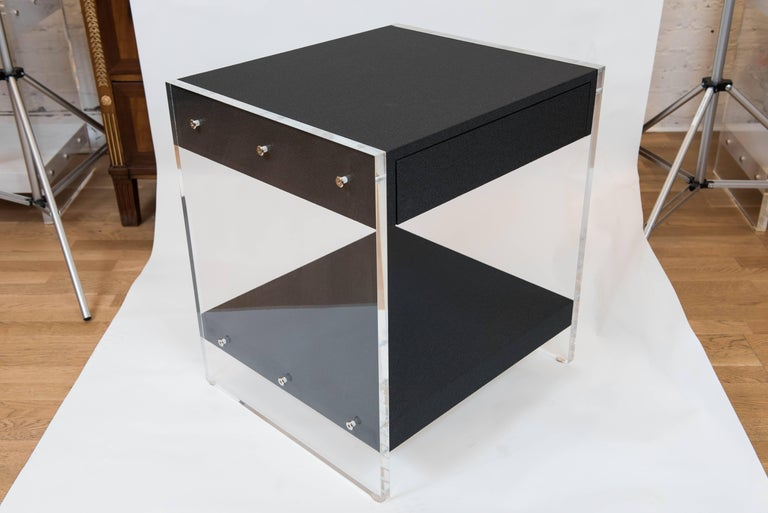 Hand-Crafted Custom Acrylic and Faux Shagreen Wrapped End Tables For Sale