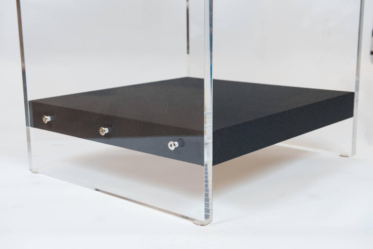 Contemporary Custom Acrylic and Faux Shagreen Wrapped End Tables For Sale