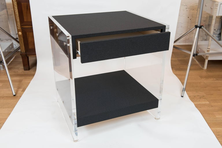 Custom Acrylic and Faux Shagreen Wrapped End Tables For Sale 1