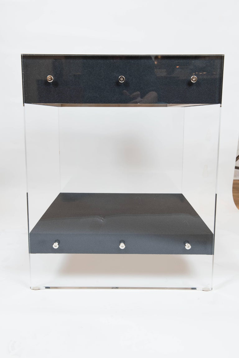 Custom Acrylic and Faux Shagreen Wrapped End Tables For Sale 2