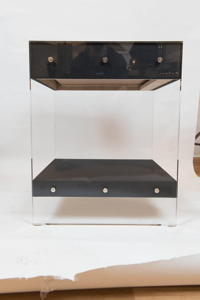 Custom Acrylic and Faux Shagreen Wrapped End Tables For Sale 3