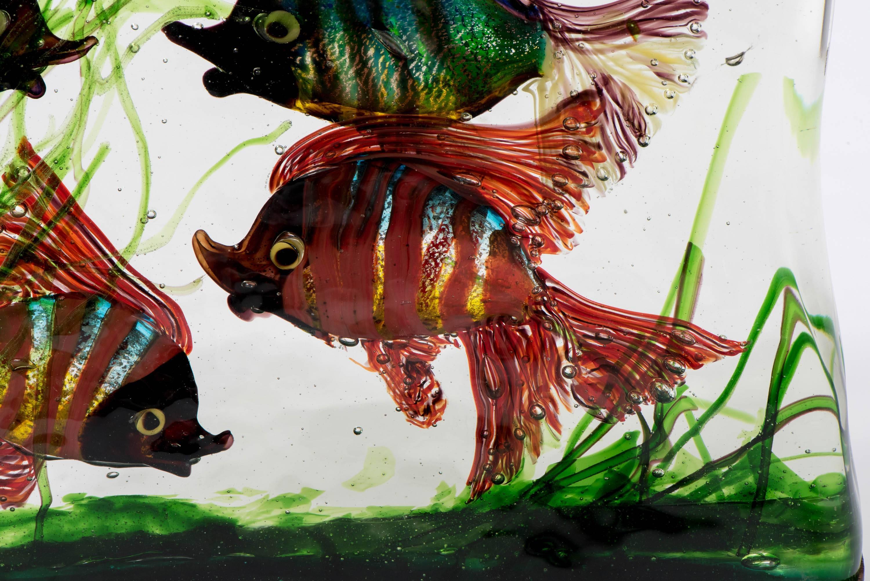 Gino Cendese Murano Glass Aquarium Lamp with Colored Fish, Italy ...