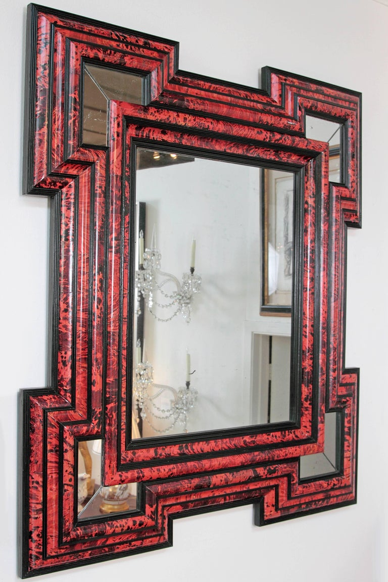 """Pair of large scale / exceptional Dutch Baroque-style red tortoise mirrors   Measures: 70"""" H x 61"""" W."""