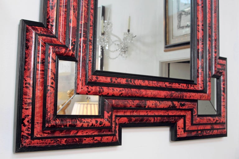 Ebonized Large Scale Pair of Exceptional Dutch Baroque-Style Red Tortoise Mirrors For Sale