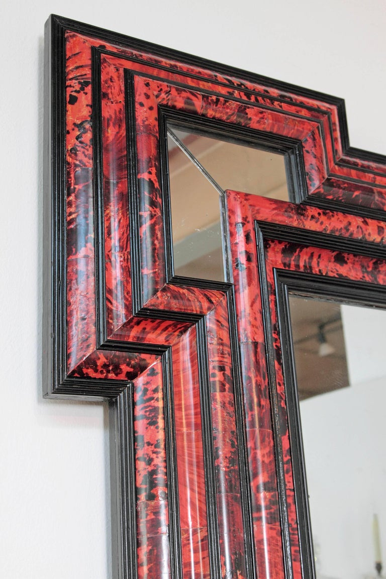 Large Scale Pair of Exceptional Dutch Baroque-Style Red Tortoise Mirrors In Excellent Condition For Sale In Dallas, TX