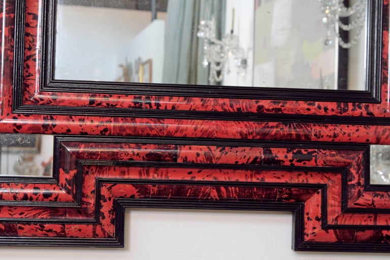 19th Century Large Scale Pair of Exceptional Dutch Baroque-Style Red Tortoise Mirrors For Sale