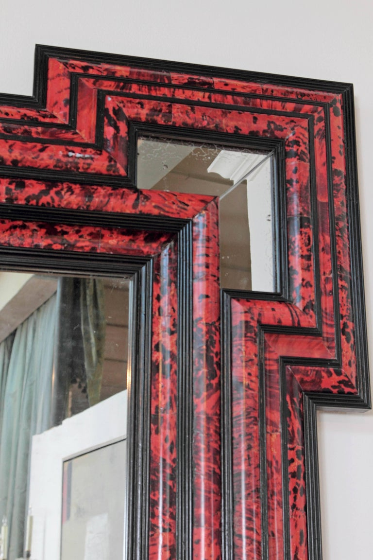 Glass Large Scale Pair of Exceptional Dutch Baroque-Style Red Tortoise Mirrors For Sale