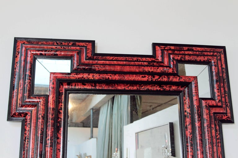 Large Scale Pair of Exceptional Dutch Baroque-Style Red Tortoise Mirrors For Sale 1