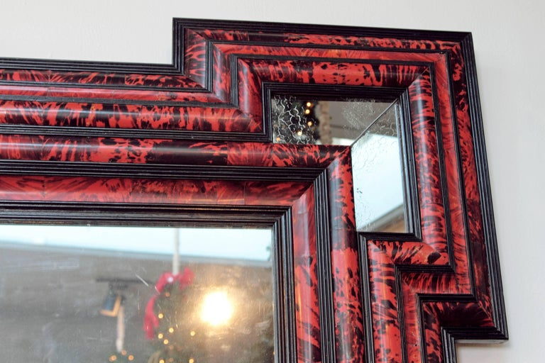 Large Scale Pair of Exceptional Dutch Baroque-Style Red Tortoise Mirrors For Sale 3