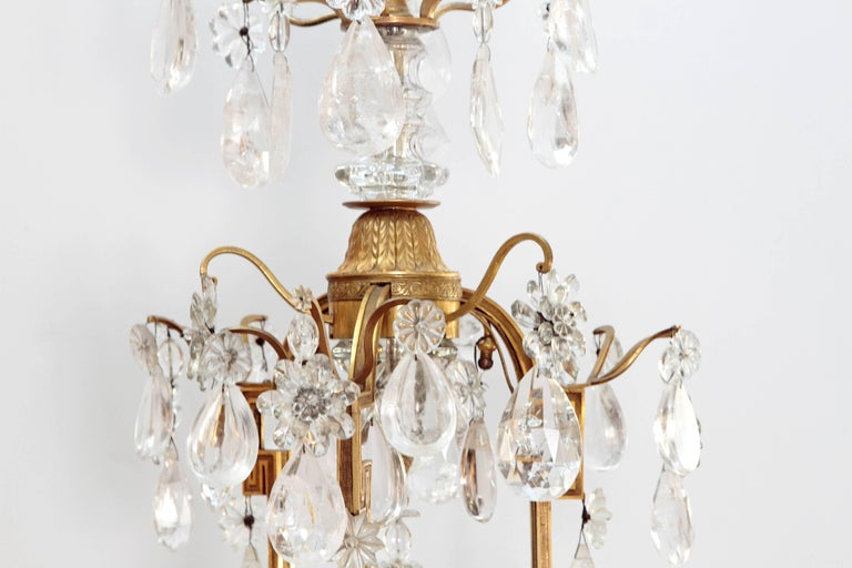 French Louis XV Style Chandelier with Rock Crystals from Nesle Inc. New York For Sale