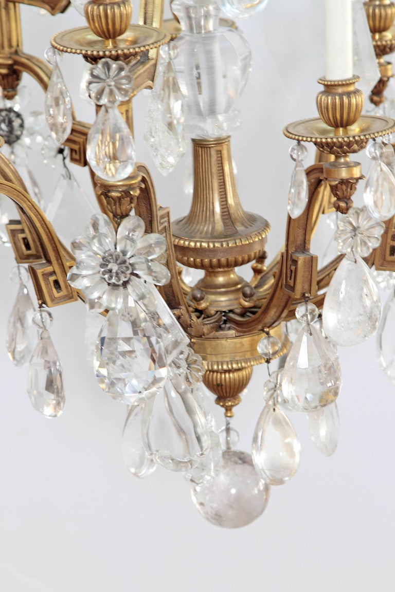 Gilt Louis XV Style Chandelier with Rock Crystals from Nesle Inc. New York For Sale