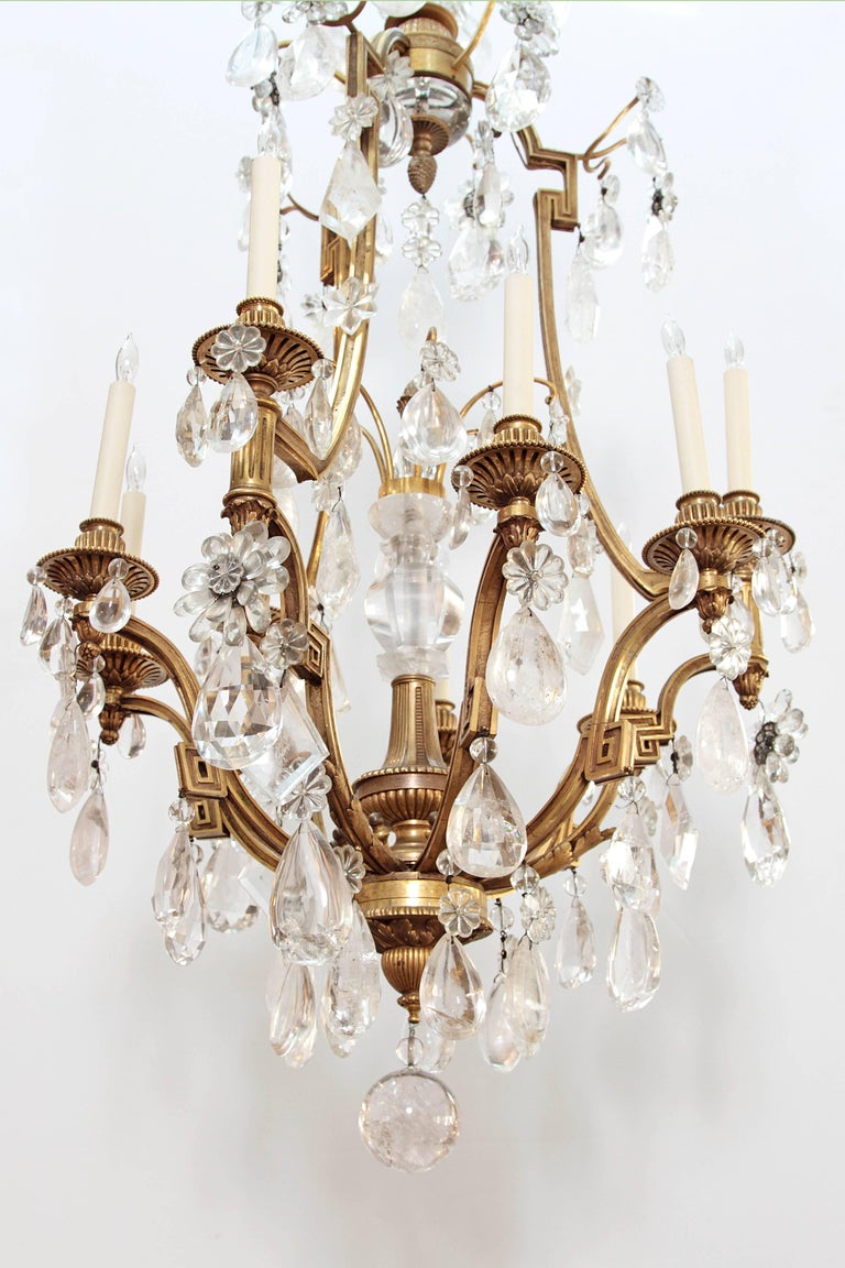 19th Century Louis XV Style Chandelier with Rock Crystals from Nesle Inc. New York For Sale