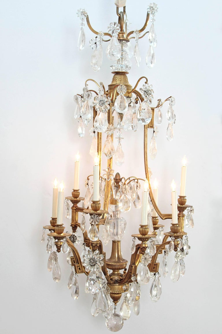 Bronze Louis XV Style Chandelier with Rock Crystals from Nesle Inc. New York For Sale