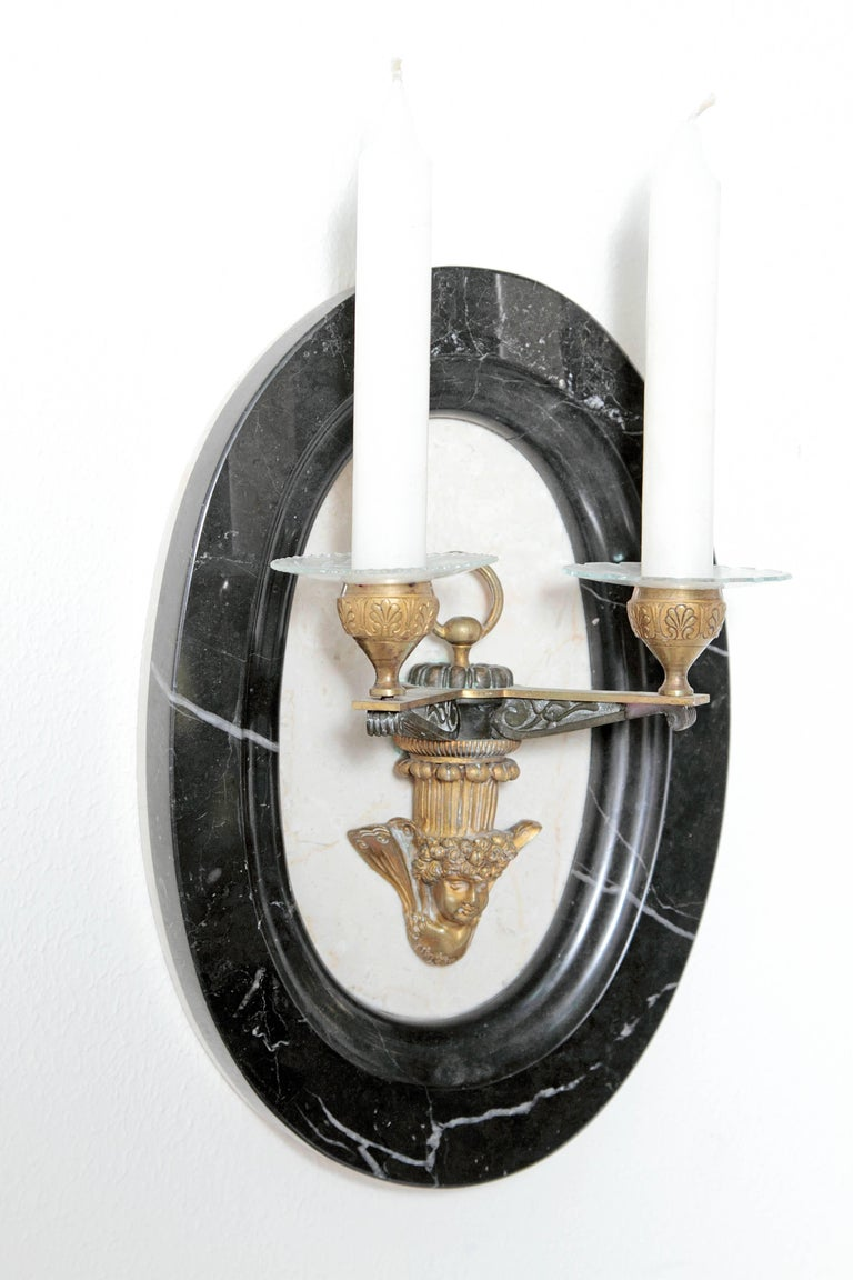 French Pair of Neoclassic Style Two-Light Sconces For Sale