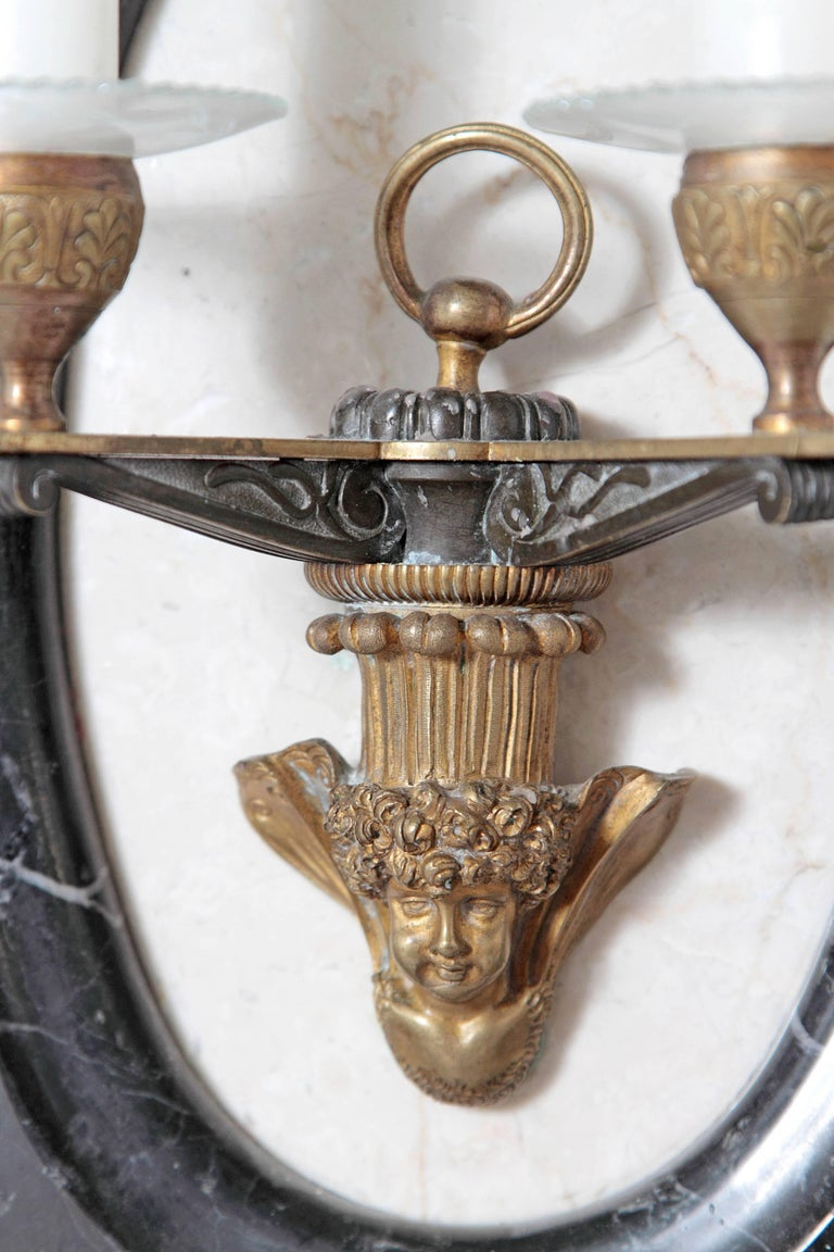 19th Century Pair of Neoclassic Style Two-Light Sconces For Sale