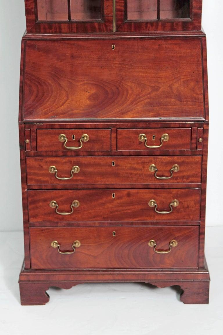 English Period George III Secretary Bookcase of Mahogany For Sale