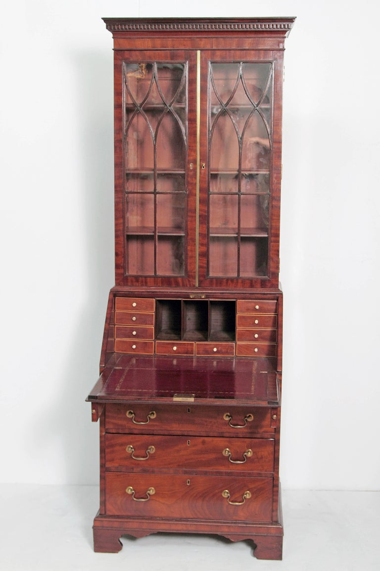18th Century and Earlier Period George III Secretary Bookcase of Mahogany For Sale
