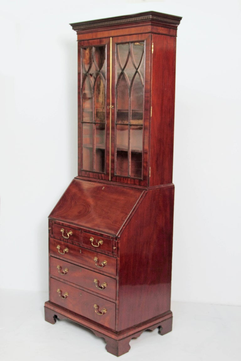 Glass Period George III Secretary Bookcase of Mahogany For Sale