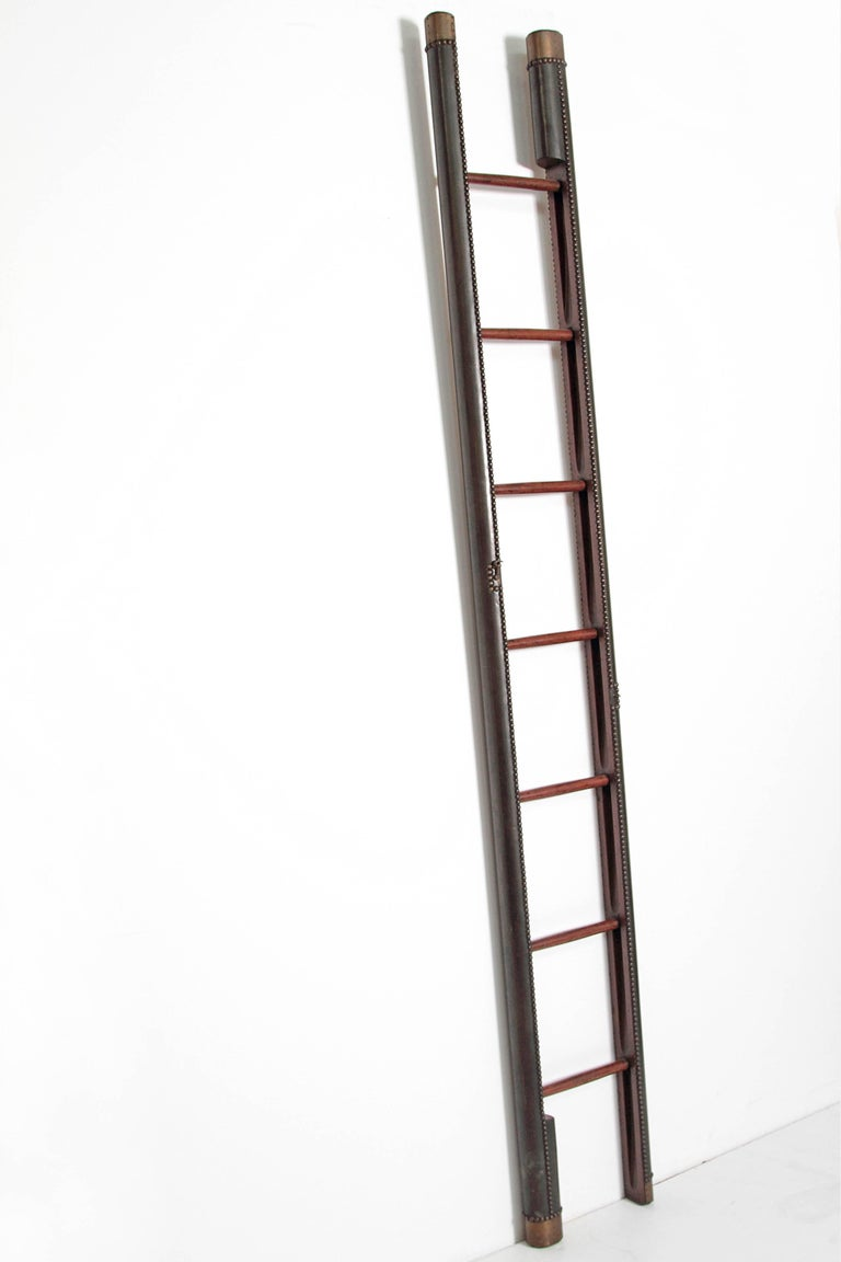 English  Edwardian Period Mahogany Folding Ladder For Sale