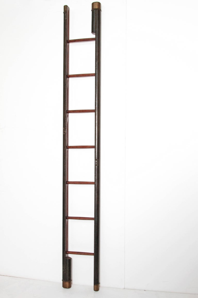Edwardian Period Mahogany Folding Ladder In Good Condition For Sale In Dallas, TX