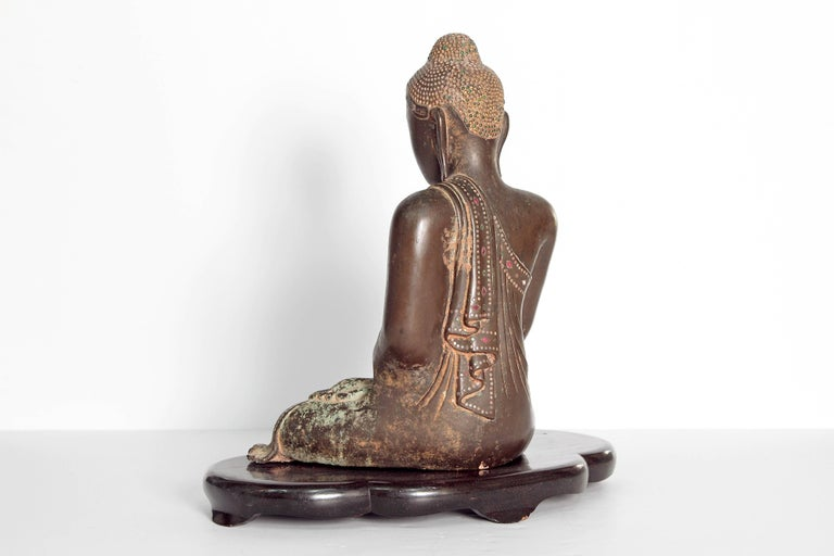Inlay 19th Century Mandalay Style Buddha of Bronze with Verdigris For Sale