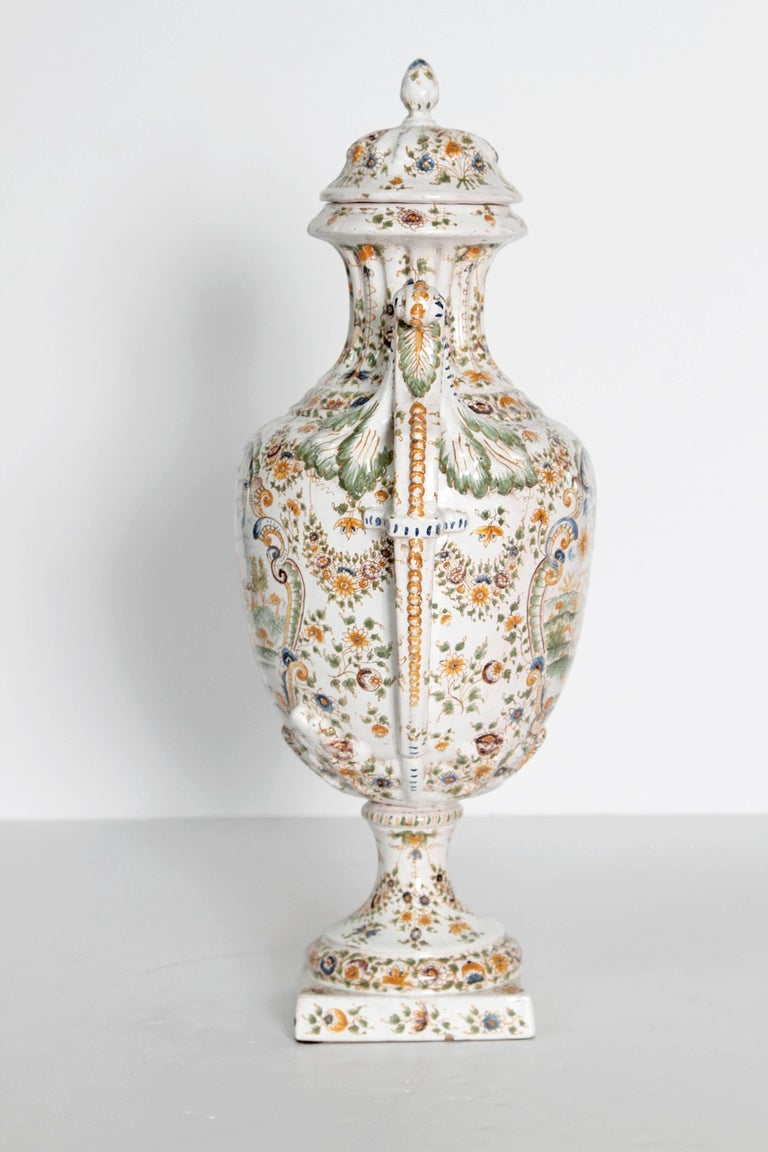 Louis XV 18th Century French Faience Lidded Urn For Sale