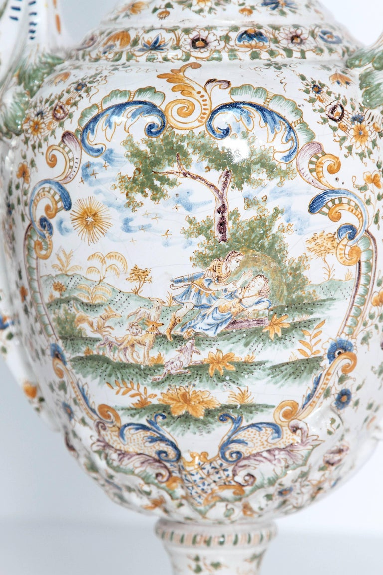 18th Century French Faience Lidded Urn In Good Condition For Sale In Dallas, TX