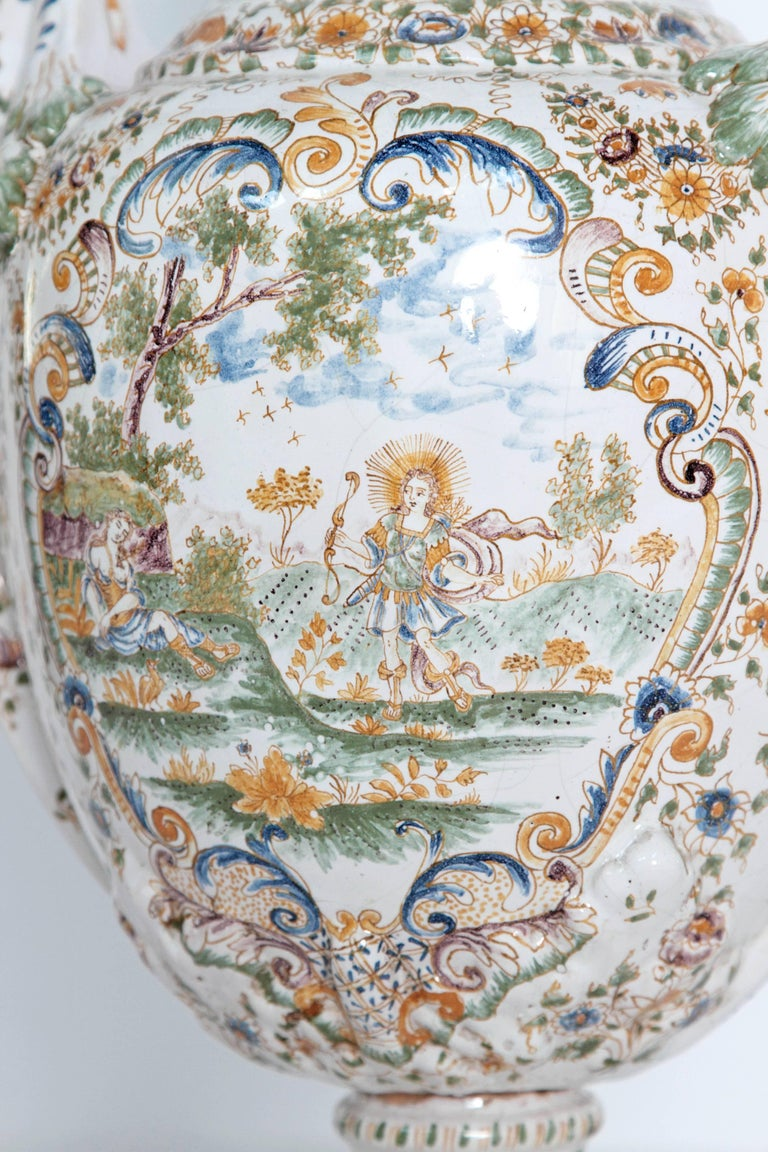 18th Century French Faience Lidded Urn For Sale 1