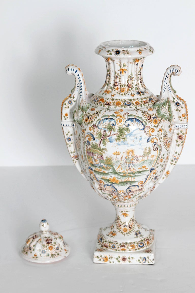 18th Century French Faience Lidded Urn For Sale 2