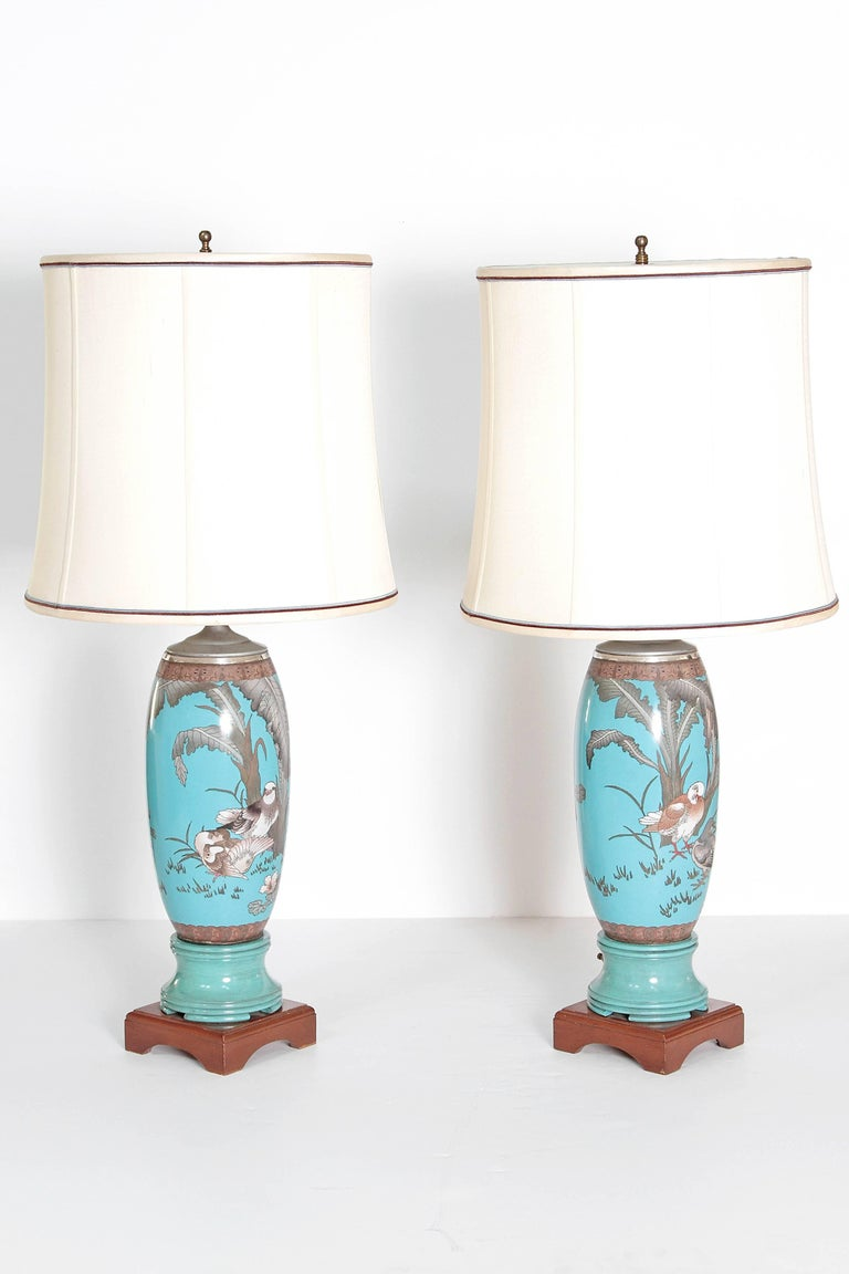 Aesthetic Movement Pair 19th Century of French Cloisonne Lamps For Sale
