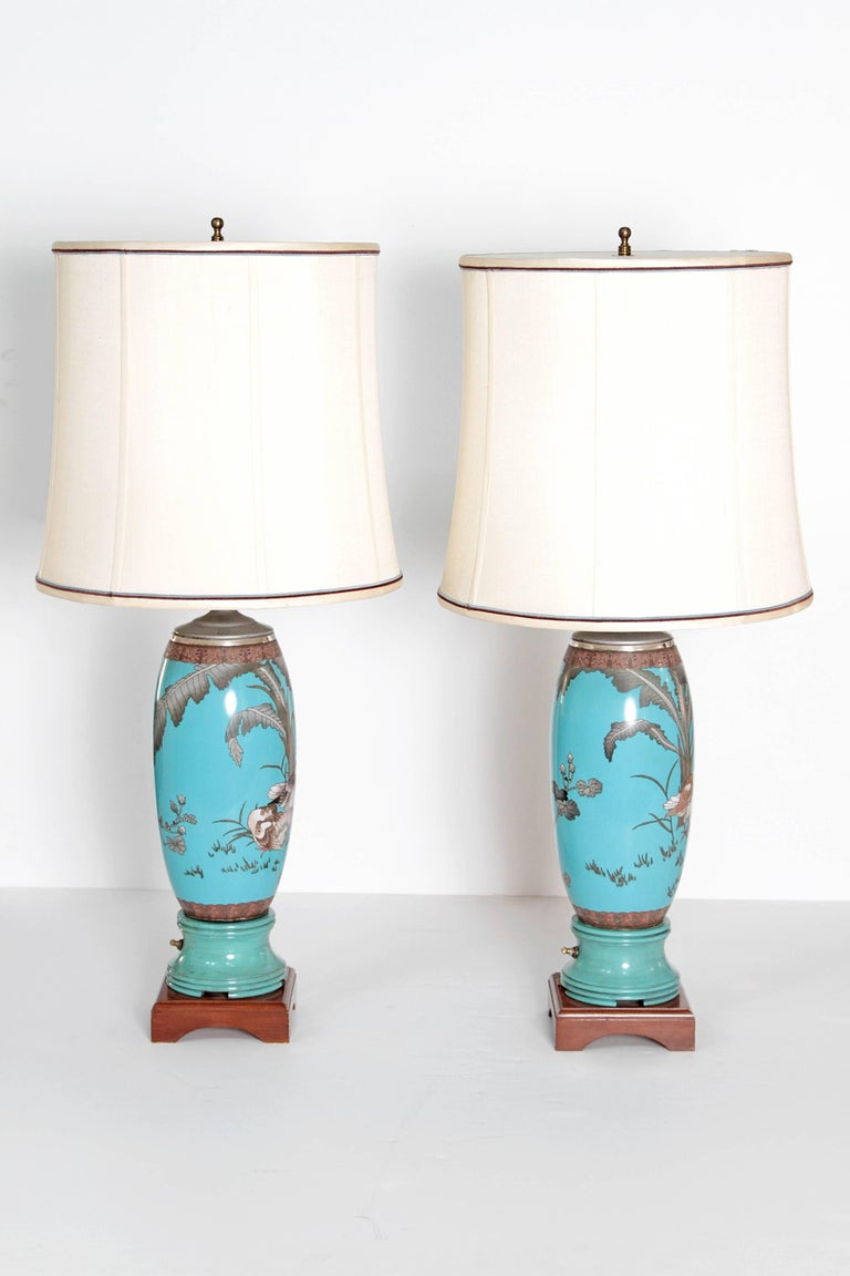 Cloissoné Pair 19th Century of French Cloisonne Lamps For Sale