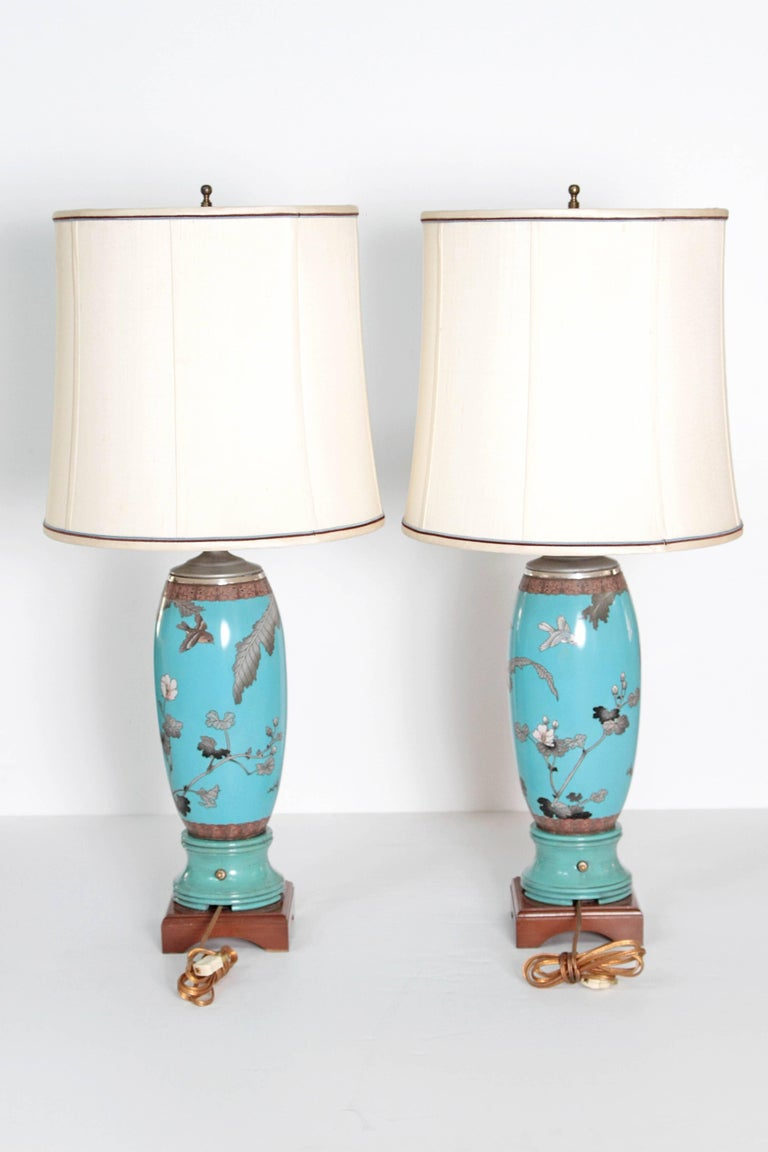 Pair 19th Century of French Cloisonne Lamps In Good Condition For Sale In Dallas, TX
