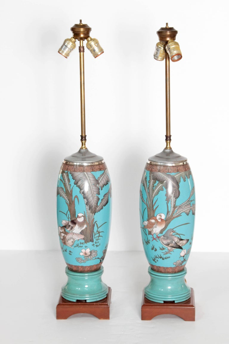 Pair 19th Century of French Cloisonne Lamps For Sale 4