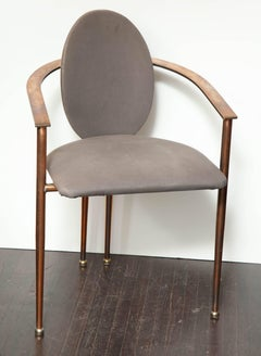 Set of Four Rose Gold-Plated Metal Chairs, 1970s
