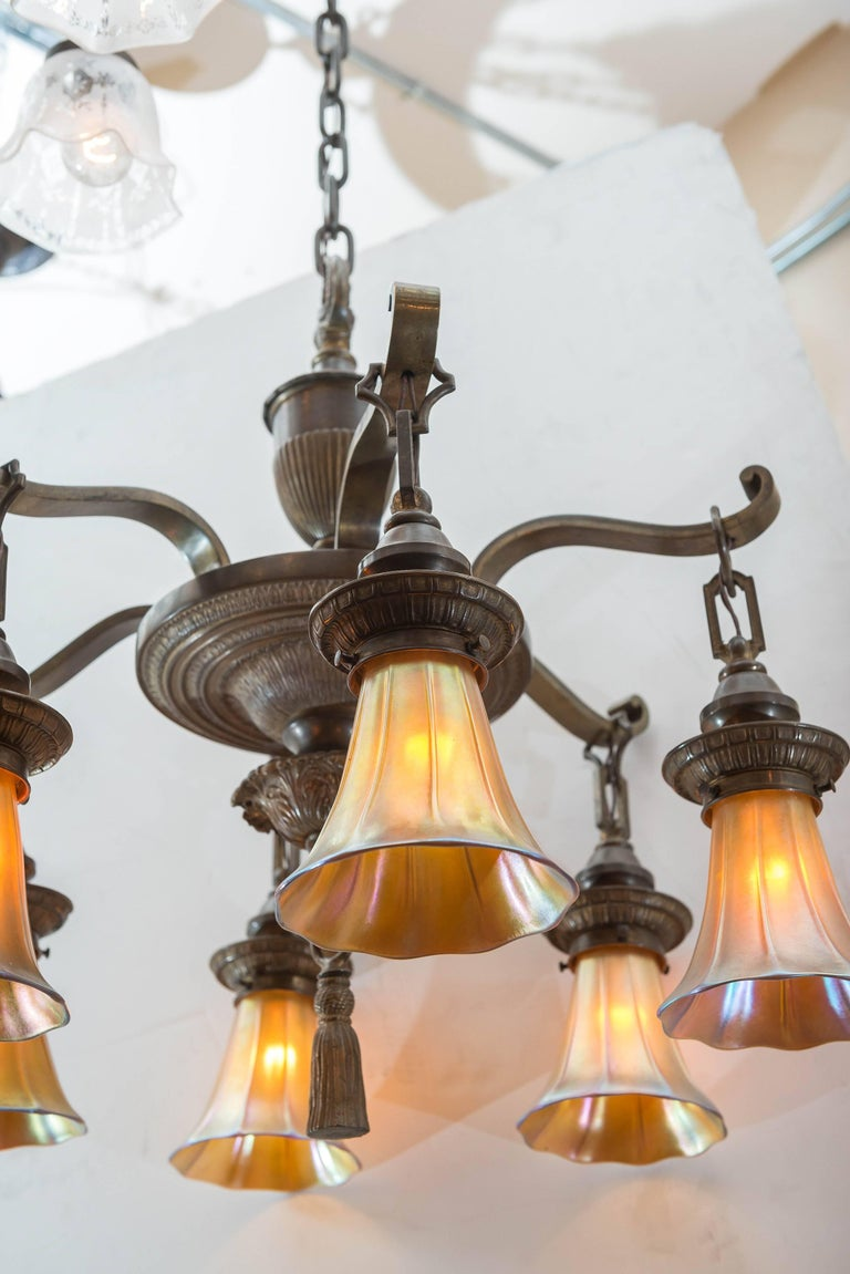 Hand-Crafted Edwardian Six-Arm Chandelier with Art Glass Shades For Sale