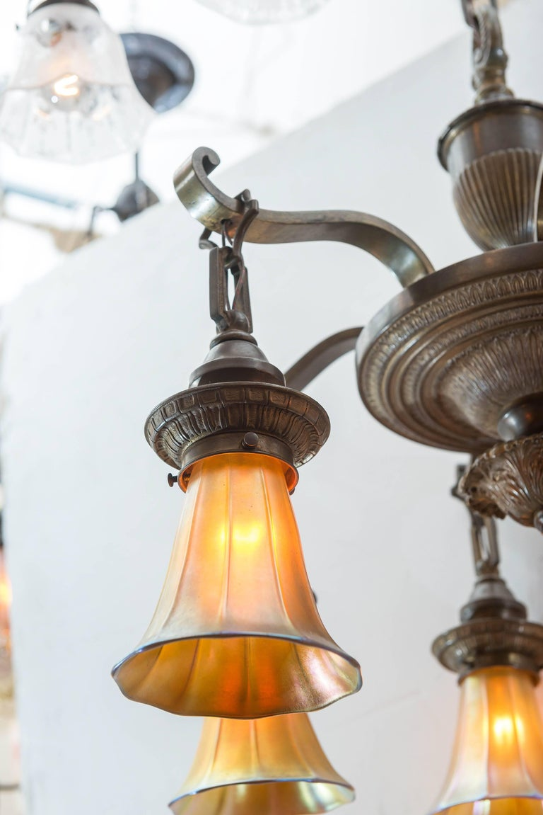 Early 20th Century Edwardian Six-Arm Chandelier with Art Glass Shades For Sale