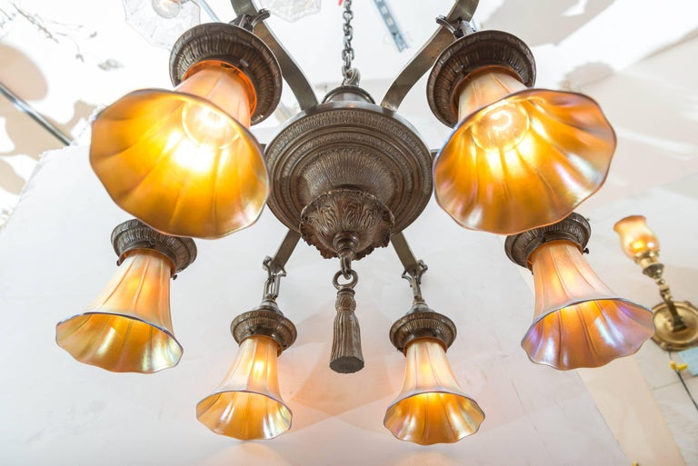 Edwardian Six-Arm Chandelier with Art Glass Shades For Sale 3