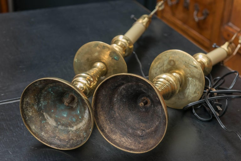 Pair of Late 19th Century Large Scale English Brass Candlestick Lamps  In Good Condition For Sale In San Francisco, CA