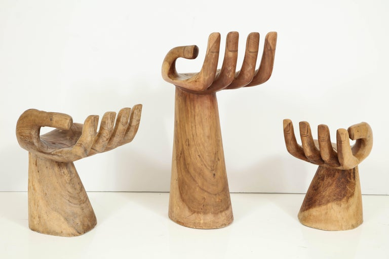 """Set of Friedberg Style """"Hand"""" Stools For Sale 1"""