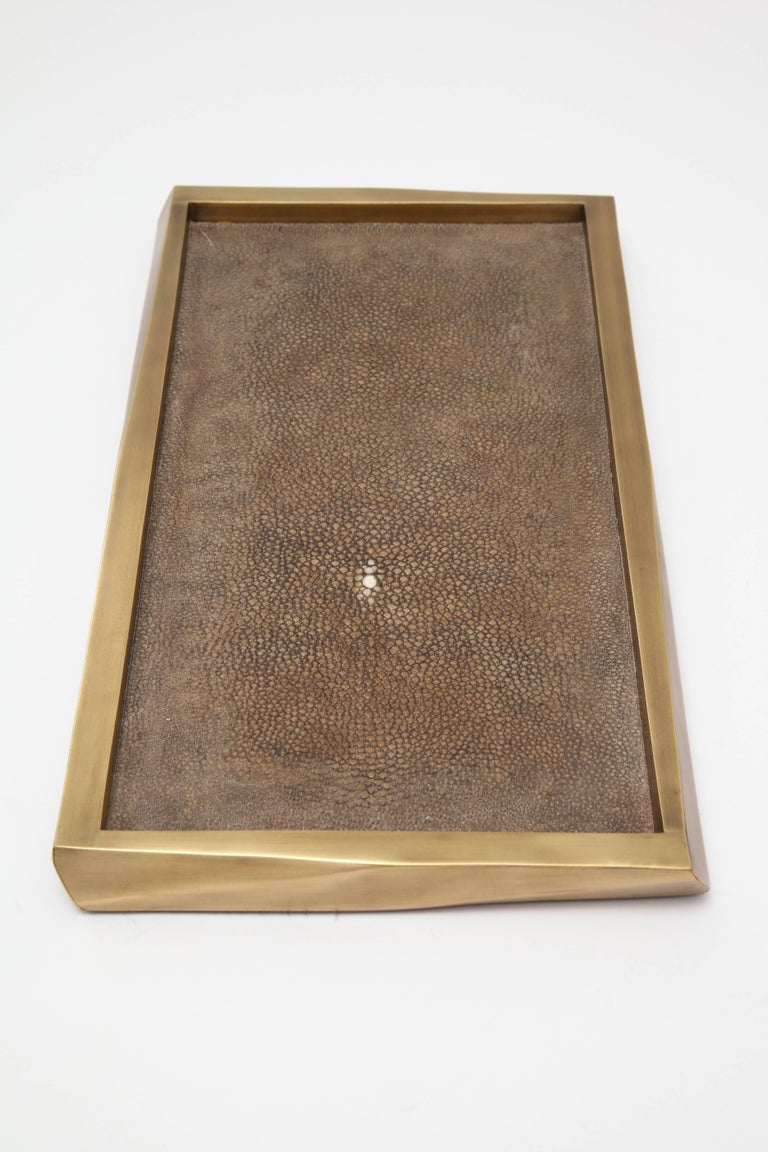 French Shagreen Tray with Bronze Details, Offered by Area ID For Sale