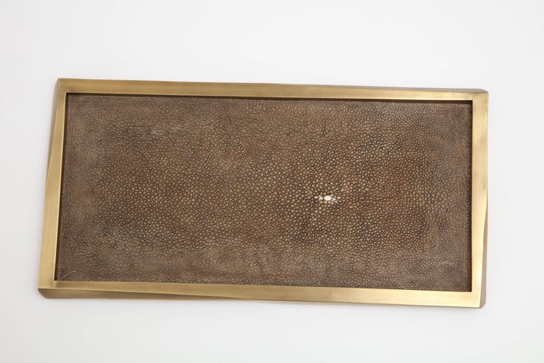 Hand-Crafted Shagreen Tray with Bronze Details, Offered by Area ID For Sale