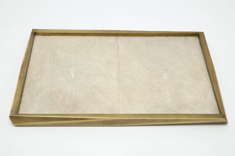 Organic Modern Shagreen Tray with Bronze Details, Offered by Area ID For Sale