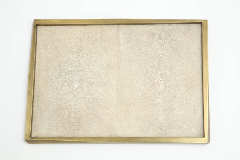 Shagreen Tray with Bronze Details, Offered by Area ID In Excellent Condition For Sale In New York, NY