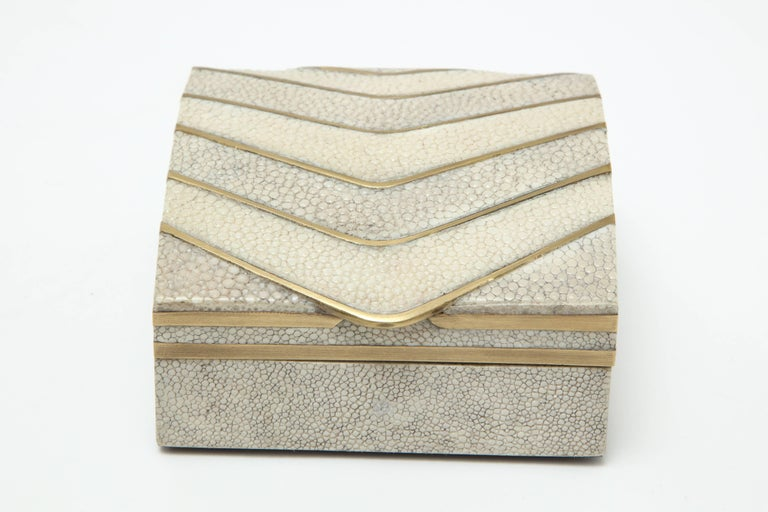 Decorative shagreen box with bronze details.