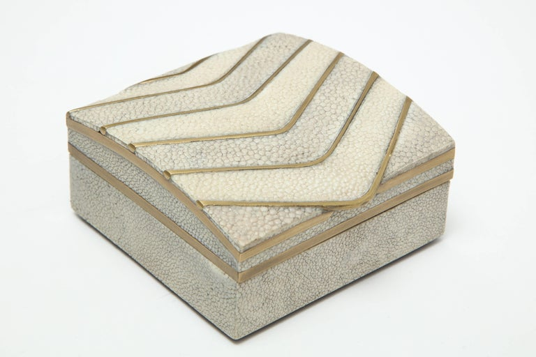 Modern Shagreen Box with Bronze Details For Sale