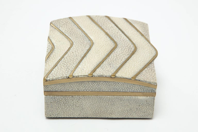 Hand-Crafted Shagreen Box with Bronze Details For Sale