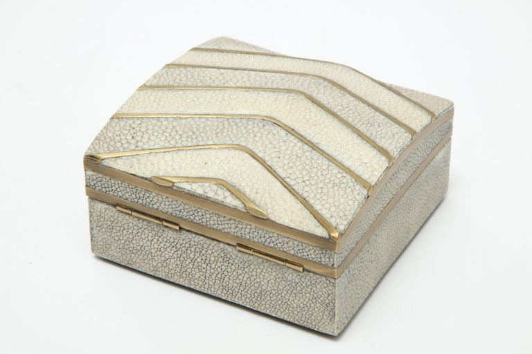 Shagreen Box with Bronze Details In Excellent Condition For Sale In New York, NY