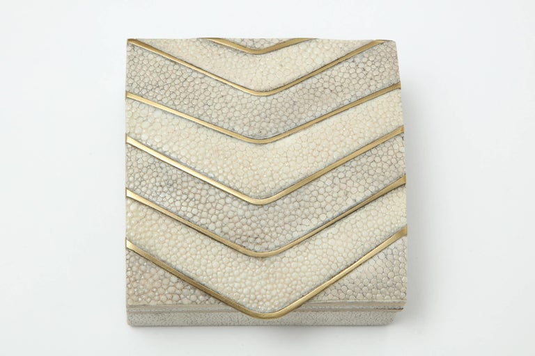 Contemporary Shagreen Box with Bronze Details For Sale