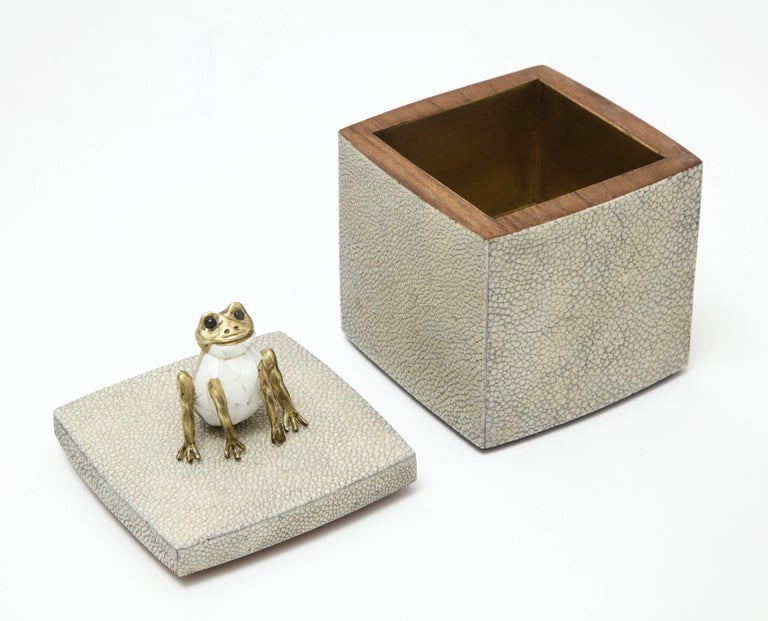 Modern Shagreen Box with Decorative Frog Offered by Area ID For Sale