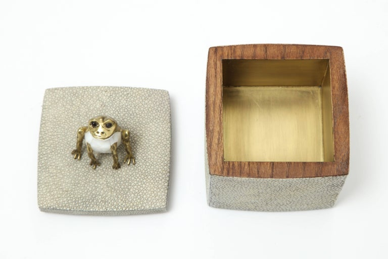 French Shagreen Box with Decorative Frog Offered by Area ID For Sale